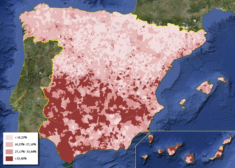 Mapa del desempleo en España Abril 2013