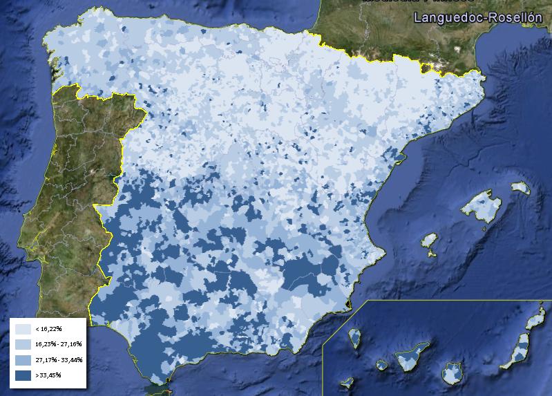 Distribución de la tasa de desempleo entre los hombres en España (Abril 2013)