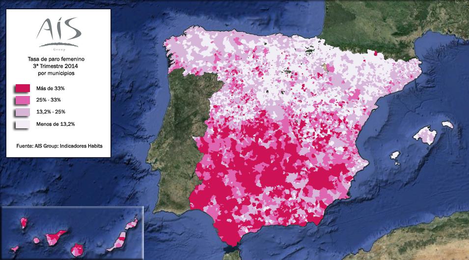 Mapa del paro femenino en España 3º trimestre 2014