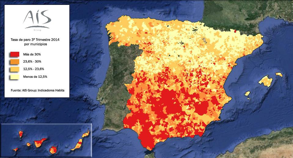 Mapa del paro España 3º trimestre de 2014