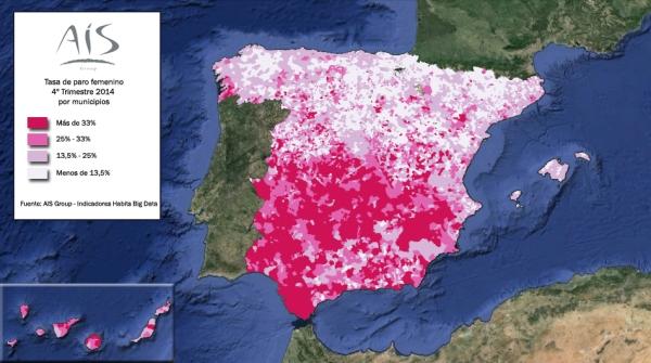 Mapa tasa paro femenino municipal 2014TIV