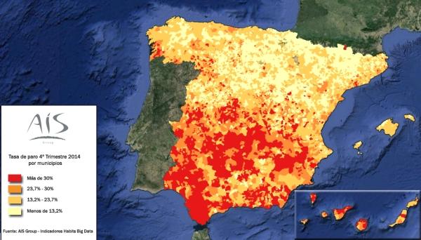 Mapa tasa paro de 4º trimestre de 2014 por municipios